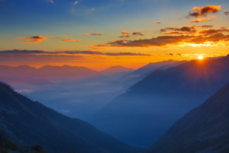 sunrise at mountains